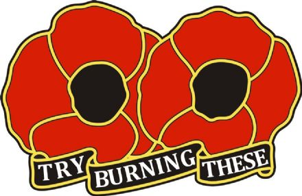 "Poppy Day Car Window Sticker - ""Try Burning These"""